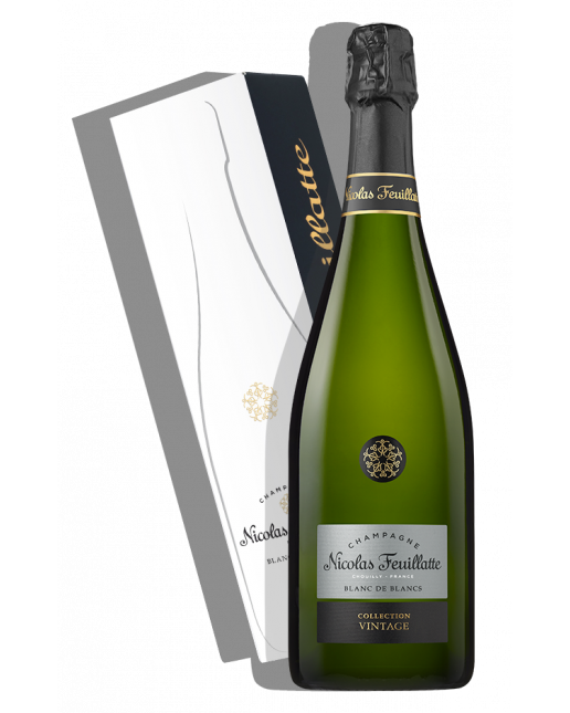 Packshot et étui Collection Vintage 2014 Blanc de Blancs - Nicolas Feuillatte